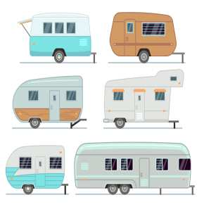 icredit-caravan-finance,Rv camping trailers, travel mobile home, caravan vector set isolated. Home camper for travel, trailer